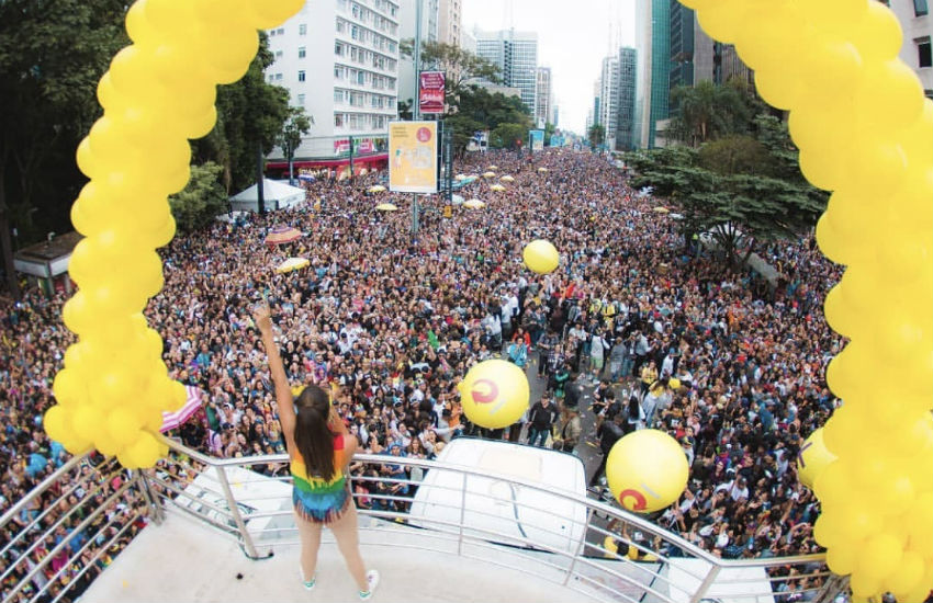 Singer Anitta performs for Sao Paulo Pride from the Skol sound truck