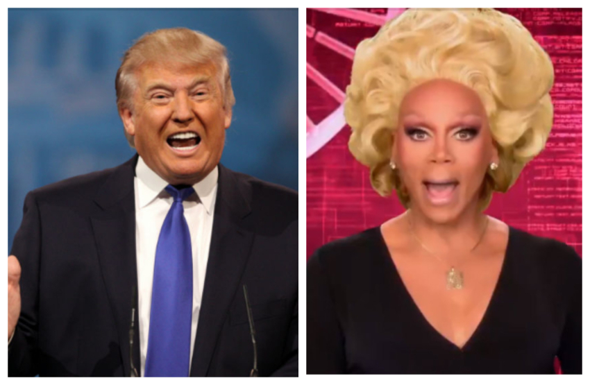 close up shots of President Donald Trump and RuPaul they both look like they're yelling
