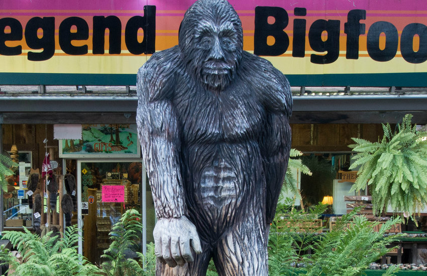 A bigfoot statue outside a Bigfoot store in California