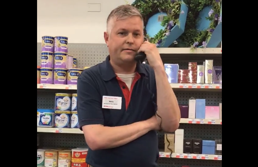 CVS manager talking to the police about the coupon