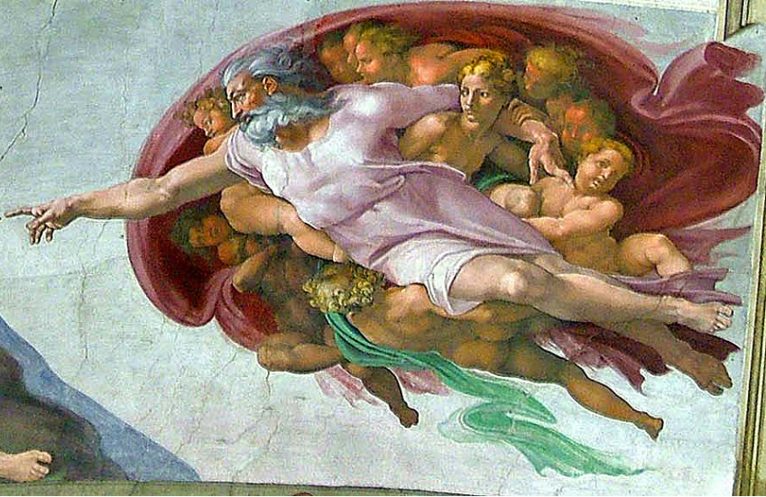 God depicted in Michelangelo's Creation of Man in the Sistine Chapel