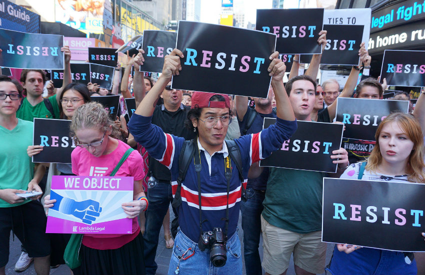 People protesting the trans military ban in NYC americans