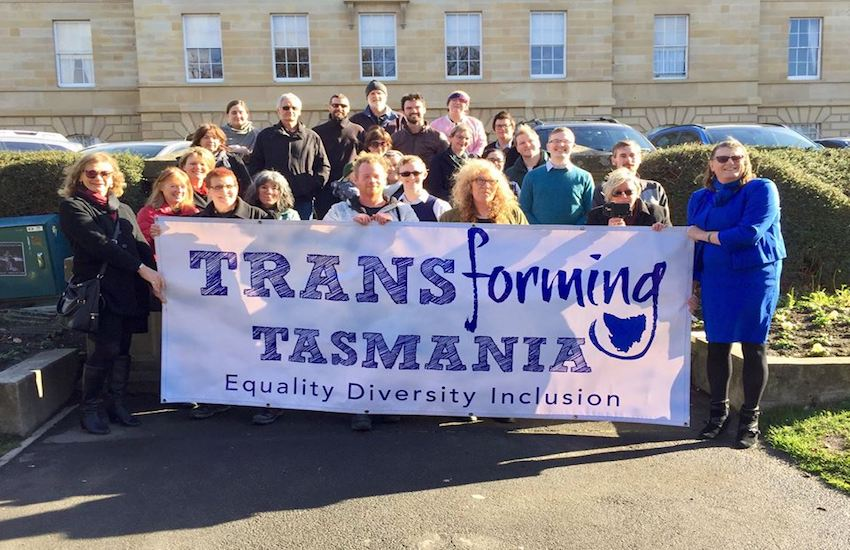 Members of the newly formed trans rights group, Transforming Tasmania