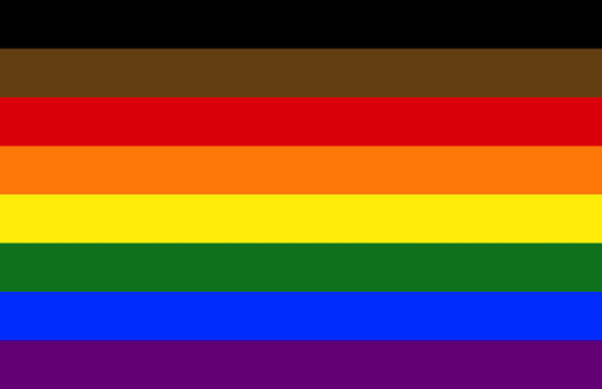 The updated Pride flag, with black and brown stripes added to support LGBTI people of color