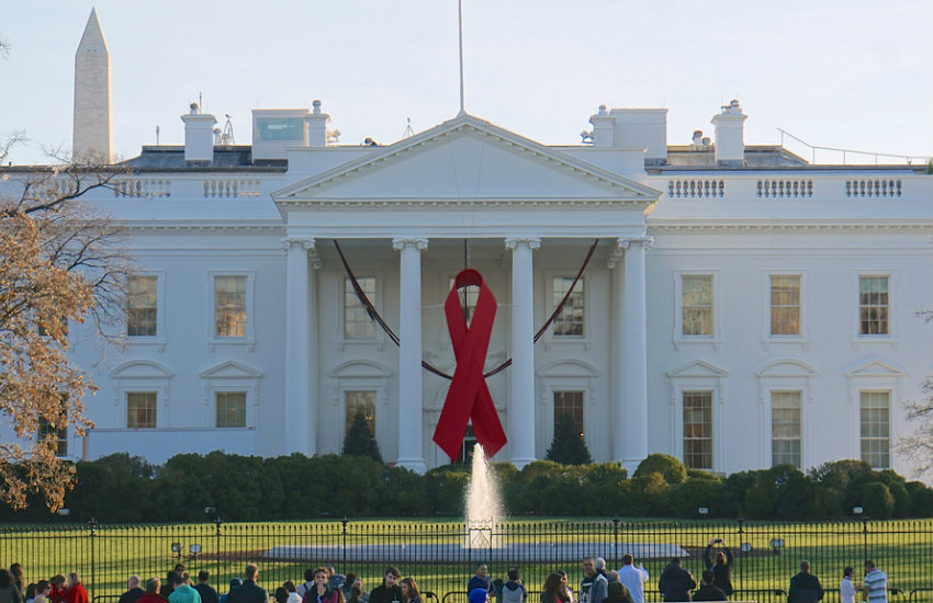 A red ribbon at the White House for World AIDS Day