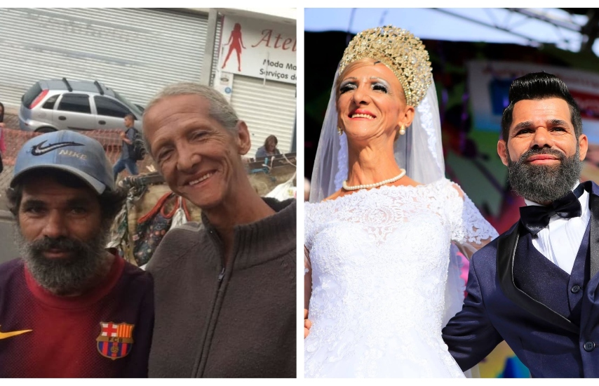 Two photos. One on right is of a couple looking dishevelled but smiling. The other photo is them with a makeover in wedding attire, smiling on a sunny day