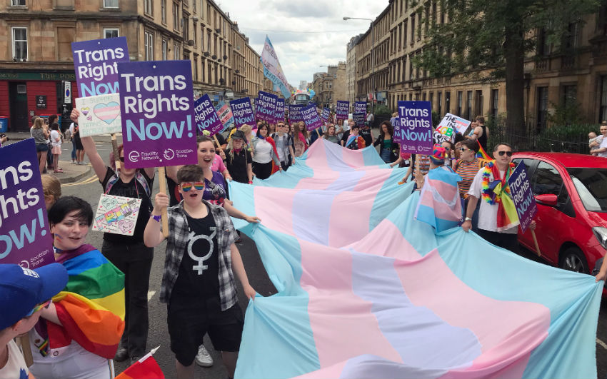 Europe's biggest trans flag carried through the streets of Glasgow group