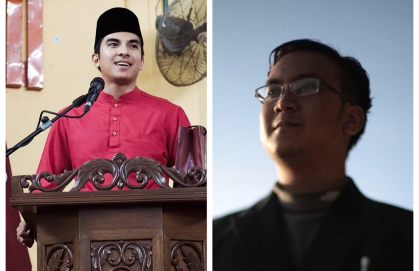 two photos, the one on the left is of a man in traditional malay islamic clothes standing behind a lectern. The other is a man wearing glasses staring up to the sky
