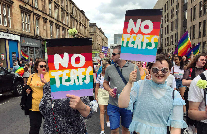 Women protesting against Trans Exclusionary Radical Feminists (TERFs) at Pride Glasgow, Scotland, last weekend