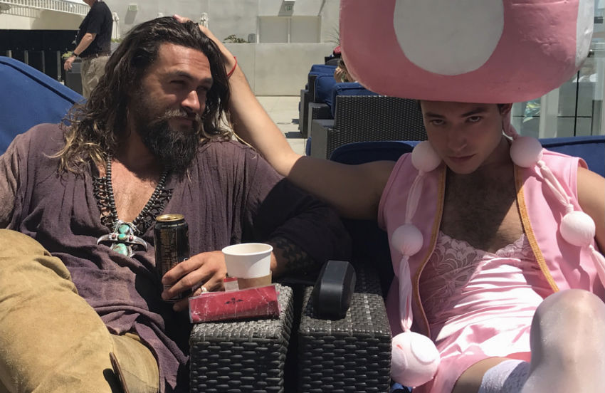 Actors Jason Momoa (famed for playing Aquaman) and Ezra Miller, at San Diego Comic Con