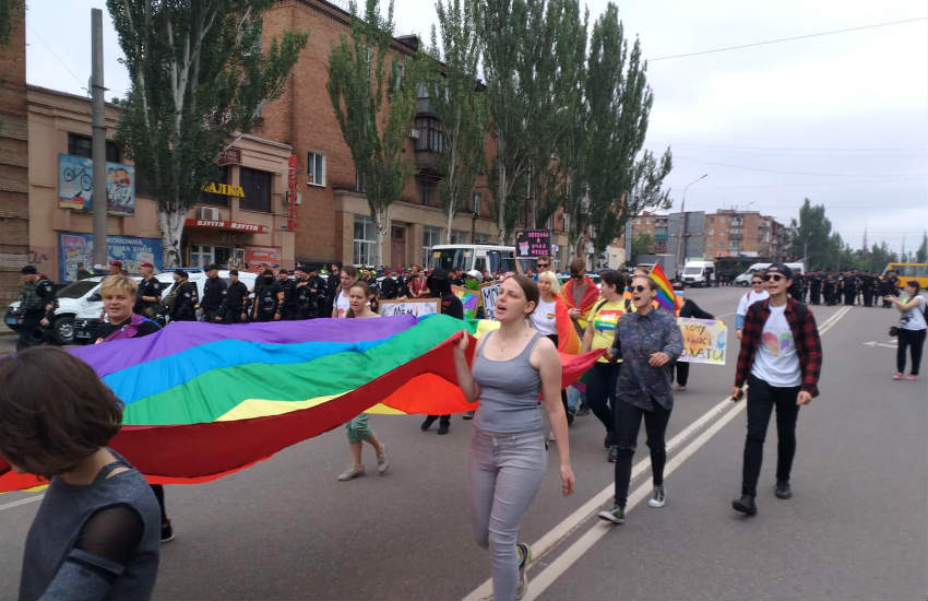 Marchers at Kryvyi Rih Pride parade.
