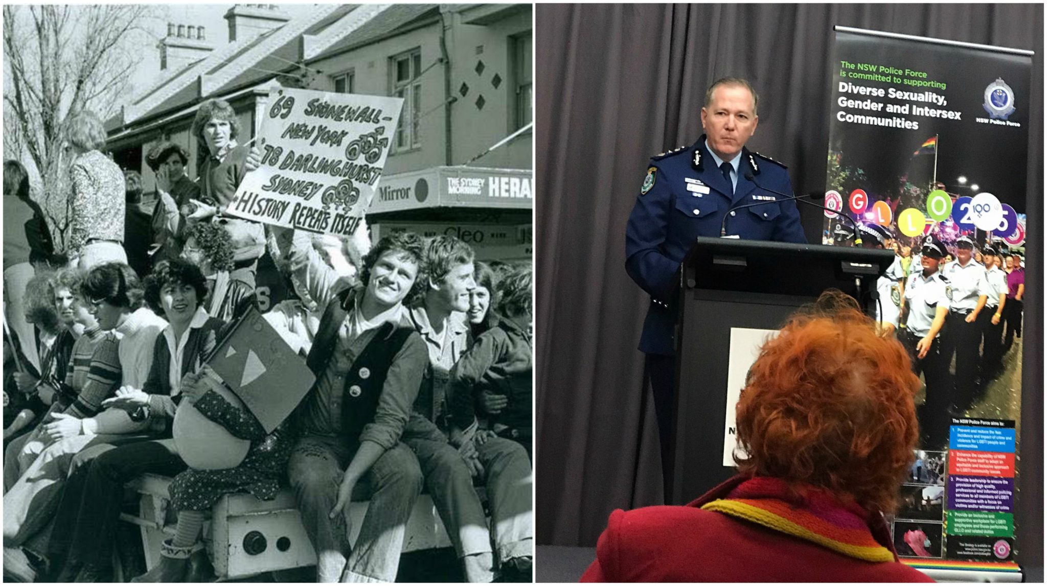 two photos.on the left is a black and white photo with revellers sitting on the back of a pickup truck smiling and holding signs. the one of the right is of a police commissioner standing at a lectern
