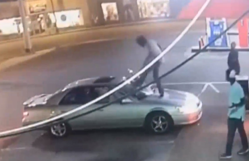 Footage of the man attacking the car