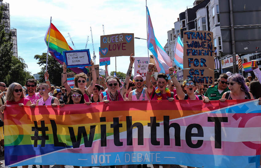 The #LwiththeT walking group led Brighton Pride