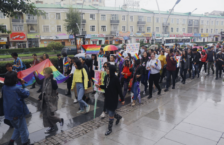 LGBTI Mongolians and allies march through the country's capital, Ulaanbaatar.