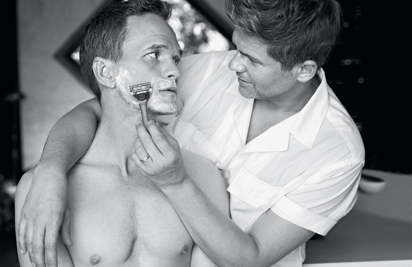 David shaves Neil's face in Hamptons mag photo