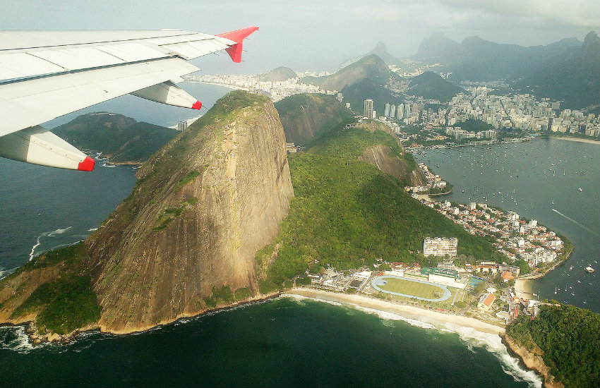Sugar Loaf Mountain as seen from above in Brazil