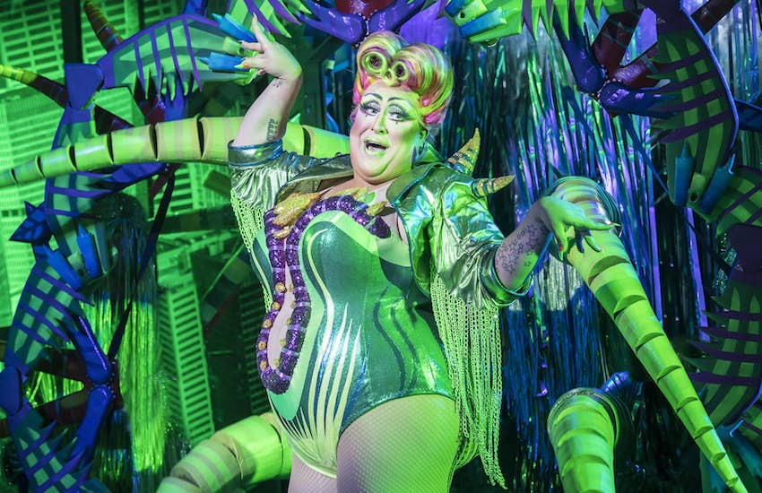 Vicky Vox as Audrey II. Photo Johan Persson. Design Tom Scutt. Lighting Design Howard Hudson. | Photo: Open Air Theatre Little Shop of Horrors