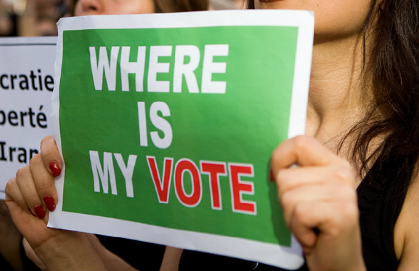 """Sign reading """"Where is my vote?"""""""
