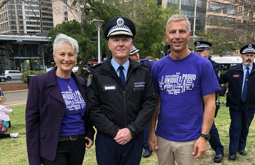 Wear it Purple ambassador Kerryn Phelps (left) attends a New South Wales police force event in Australia