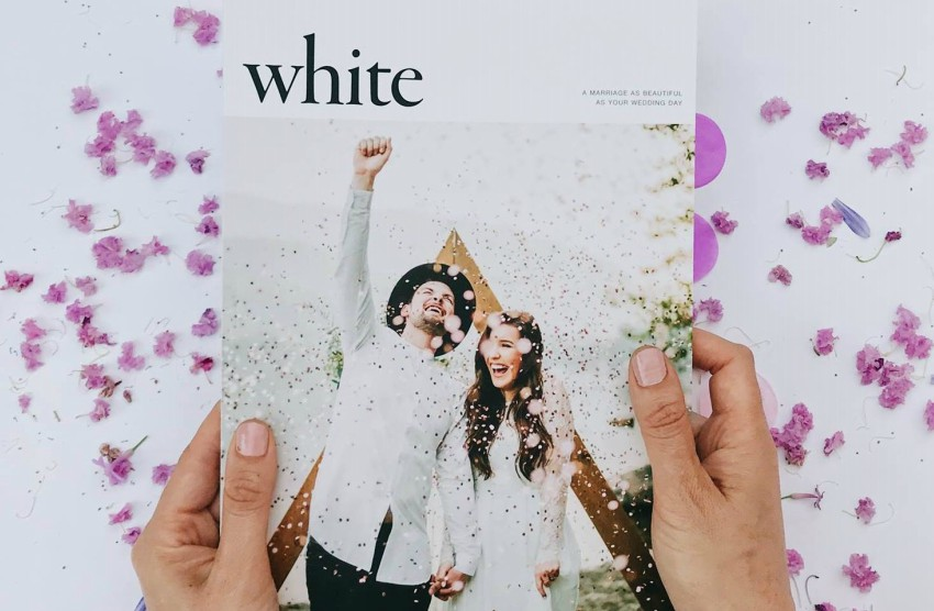 the cover of magazine featuring a hipster couple at their wedding