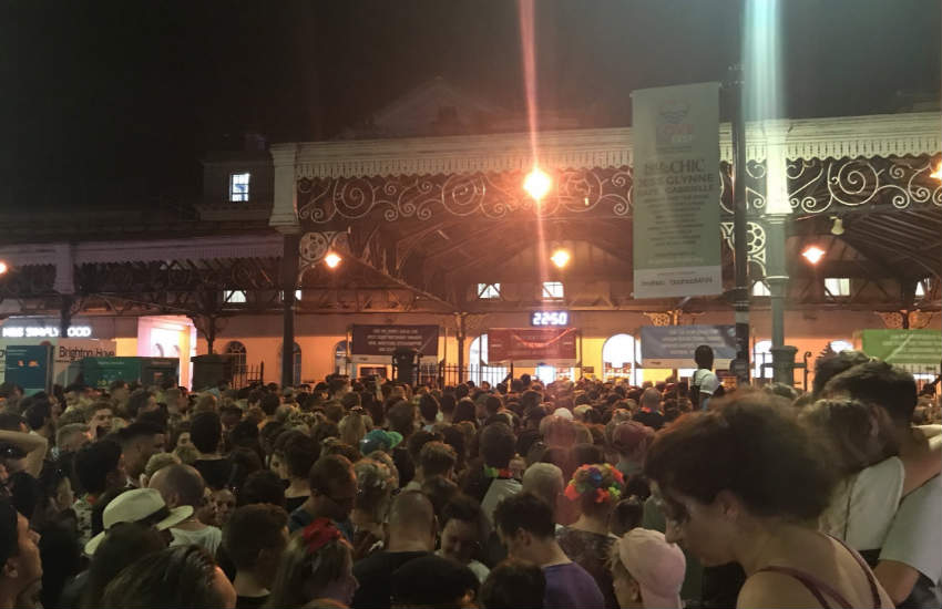 The crowd gathered outside Brighton station after the concert.
