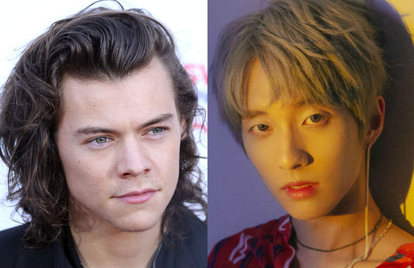 Close ups of singers Harry Styles and Holland.
