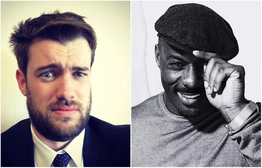 Two headshots, the one on the left is of jack whitehall who is grimacing and wearing a black and white suit. On the right is a black and white photo of idris elba who is pulling a cap over his eyes and smiling .