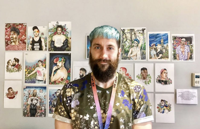 Artist James Falciano with some of his work