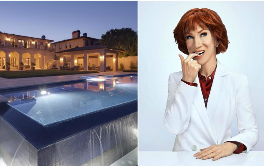 two photos on the left a nighttime shot of a big mansion. photo on the right is with Kathy Griffin in a white suit biting her finger and smiling