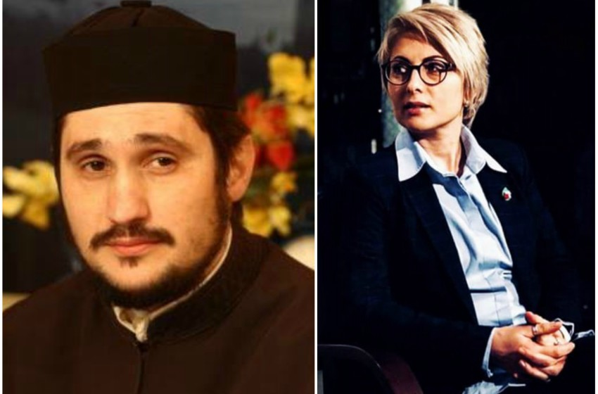 two professional shots. the one on the left is of an unsmiling deacon in black orthodox robes. photo on the right is of a woman in a suit sitting looking over her shoulder. she has short blonde hair and is wearing glasses