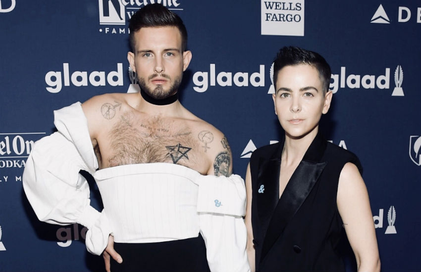 Nico Tortorella and wife Bethany Meyers at the GLAAD Awards in May