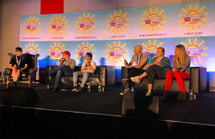 The Gender Identity panel at Summer In The City. It featured YouTubers Jake, Danni, Steph, Roly, Ellen and Charlie.
