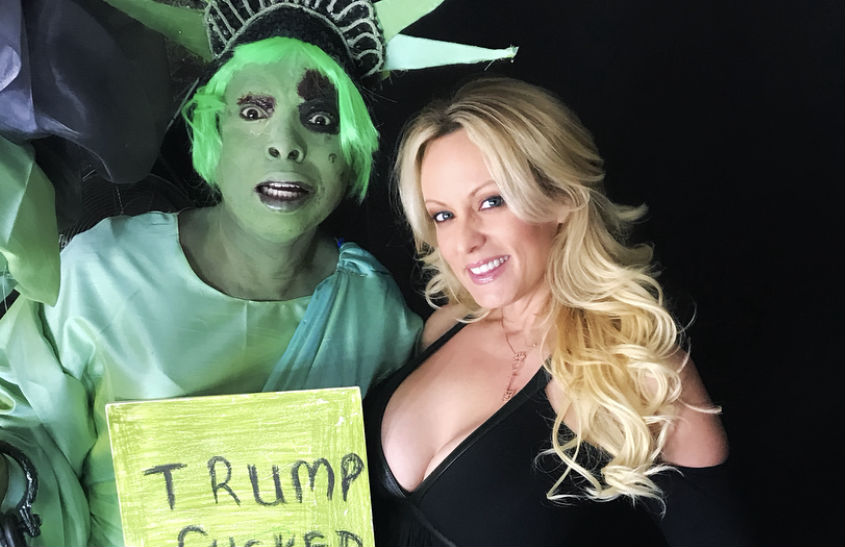 Drag act Sonofatutu backstage with Stormy Daniels at G-A-Y in London