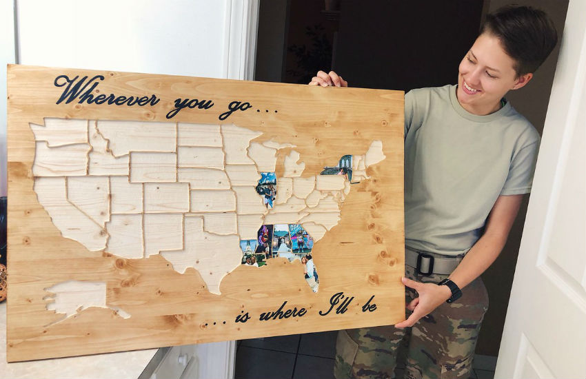 The wooden map made by Taylor for Kianna for their anniversary
