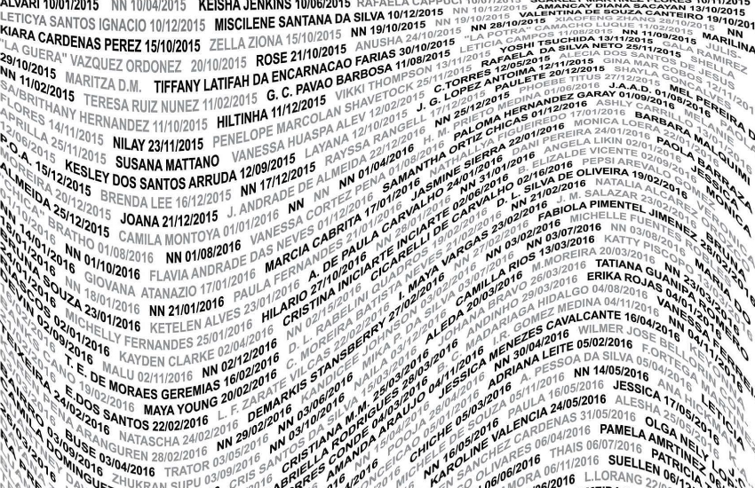Part of artist Beck Gilmer-Osborne's poster listing the names of trans murder victims