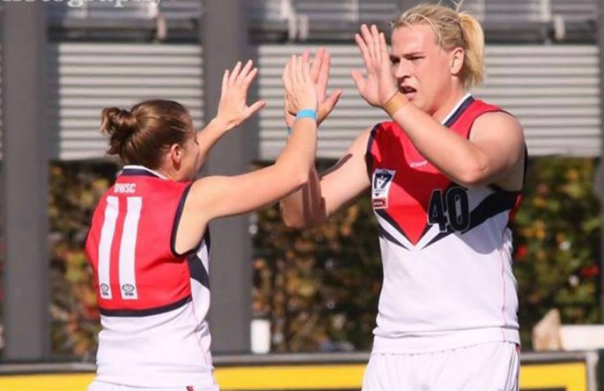 Australian transgender football player Hannah Mouncey (right) on the pitch in May. (Photo: Facebook)