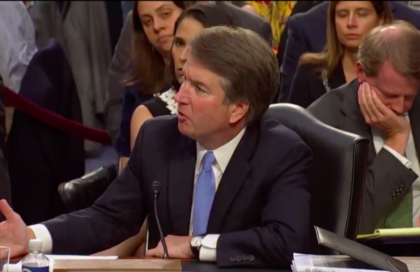 US Supreme Court nominee Brett Kavanaugh takes questions from senators (Photo: Twitter)