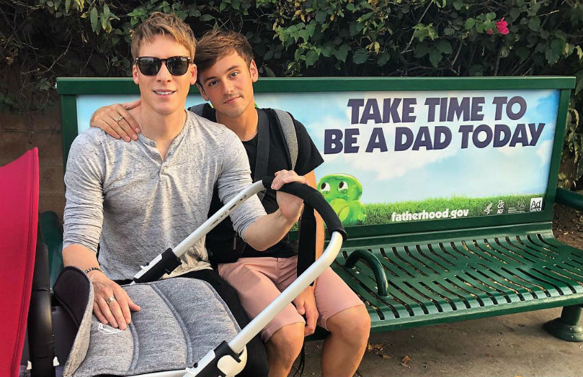 Dustin Lance Black and Tom Daley go out together for the first time since becoming dads