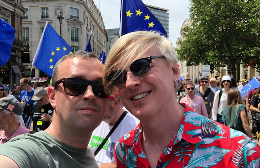 Gay Star News co-founders Scott Nunn and Tris Reid-Smith marching for a People's Vote.
