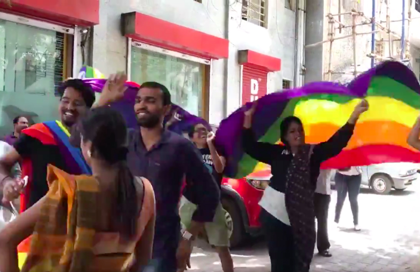 LGBTI Indians and allies celebrate the end of Section 377 in Bengaluru. (Photo: Anna Isaac via Twitter)