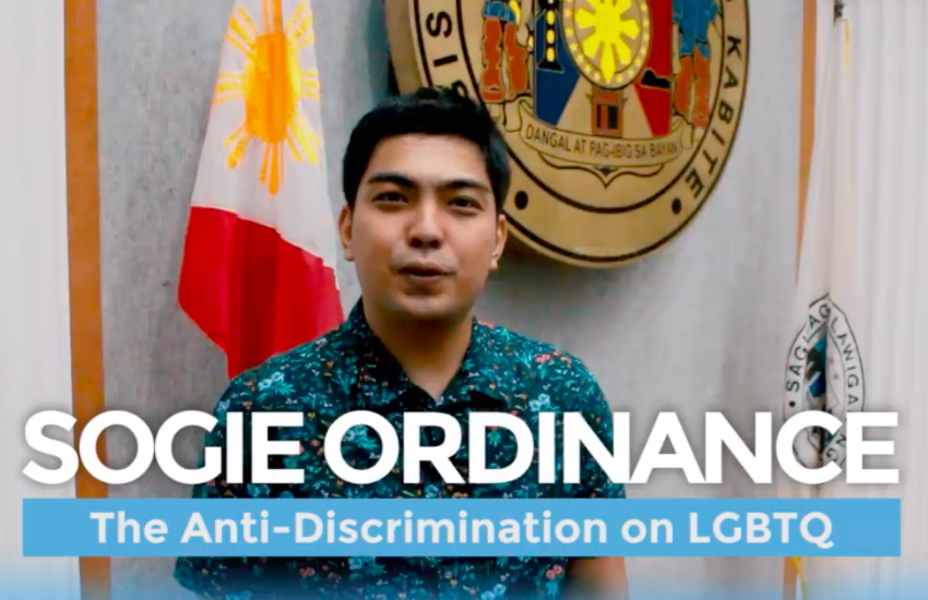 Cavite Vice Governor Jolo Revilla III promotes a regional ordinance to protect LGBTI residents from SOGIE-based discrimination. (Photo: Facebook)