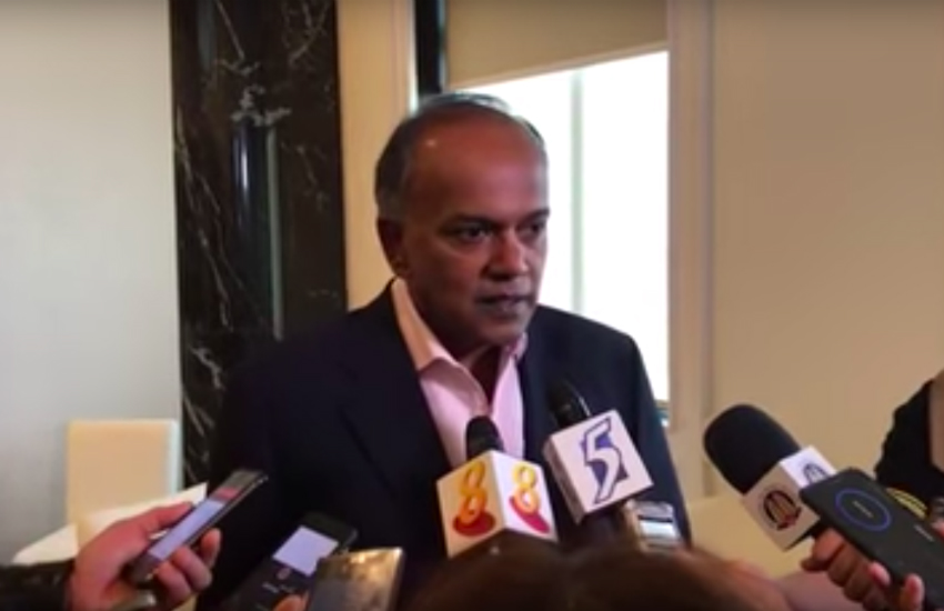 Singapore's home minister Kasiviswanathan Shanmugam speaks to press about Section 377A (Photo: YouTube)