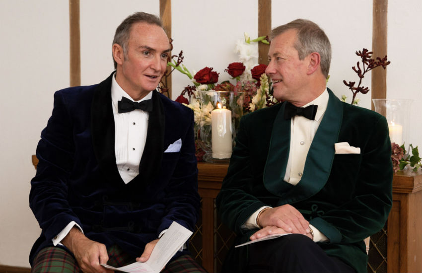 L-R: James Coyle and Lord Ivar Mountbatten married on Saturday in Devon, England