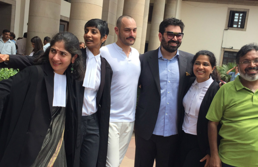 lawyers and petitioners outside Indias Supreme Court after it ruled to dicriminalize gay sex