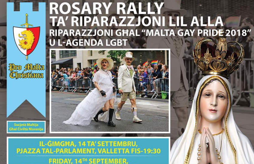 A flyer for an anti-LGBTI Catholic rally, including a picture of people at Pride and a statue of the Virgin Mary.