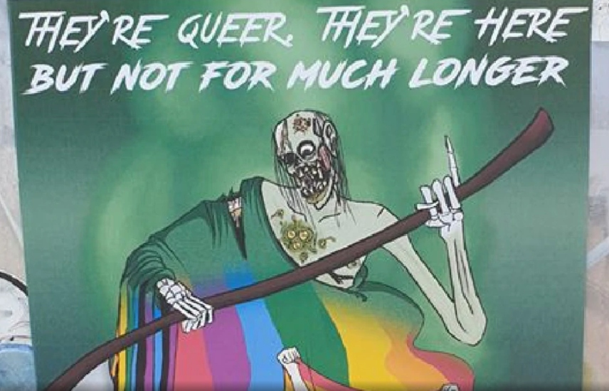 A poster showing a decaying grim reaper draped in a rainbow flag with the caption, 'they're here, they're queer but not for much longer'