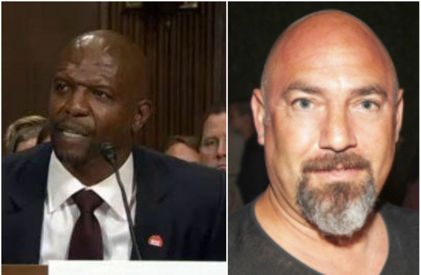 photo on the left is of terry crews in a suit sitting and testifying. on the right the photo is a headshot of adam venit, he is bald with a grey goatee