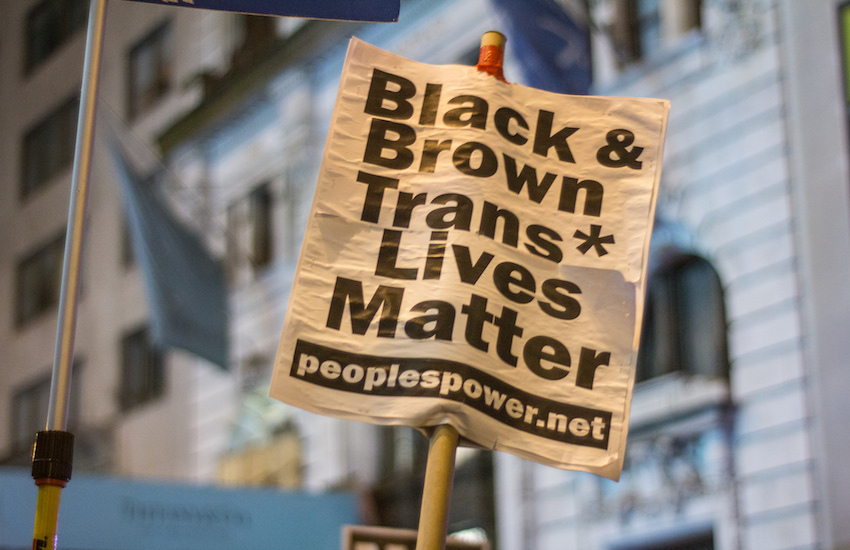 "A protest sign reading ""Black & Brown Trans Lives Matter"""
