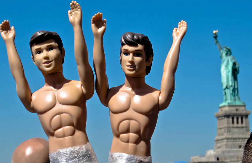 A couple of Ken dolls visiting the Statue of Liberty (Photo by Jon Olav Eikenes on Flickr)